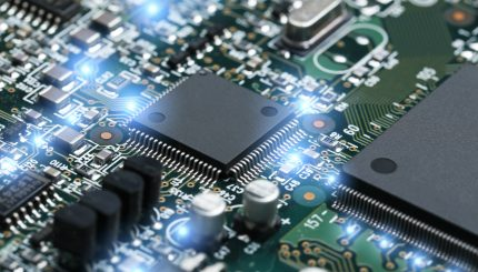 closeup electronic circuit board with cpu microchip electronic components background scaled